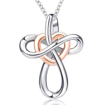463d66c61f81 Nudo infinito amor corazón 925 Cadena de plata de ley colgante collar  joyería de moda collares