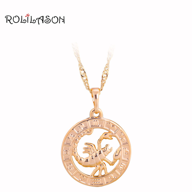 12 Constellation Round Scorpio design glittering golden tone Fashion Jewelry Nec