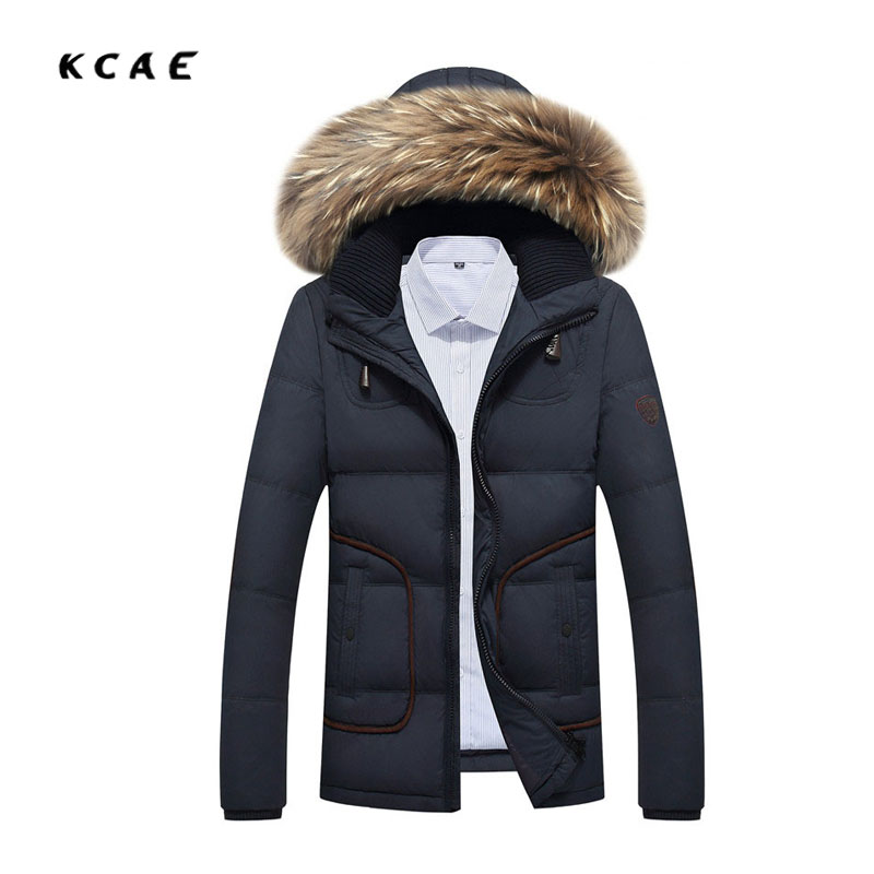 Winter new men's Large hair collar White duck down cotton wool Thickening warm collar Hooded jacket men's Black cotton 3XL new queen size bed white thickening folding luxury duck down mattress topper 100% cotton shell 95% duck down filling quilted