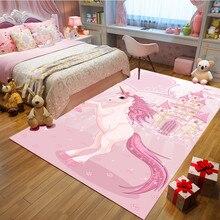 Pink unicorn Cartoon bedroom Kids Crawl blanket Flannel princess powder carpets for living room Home child rug and carpet