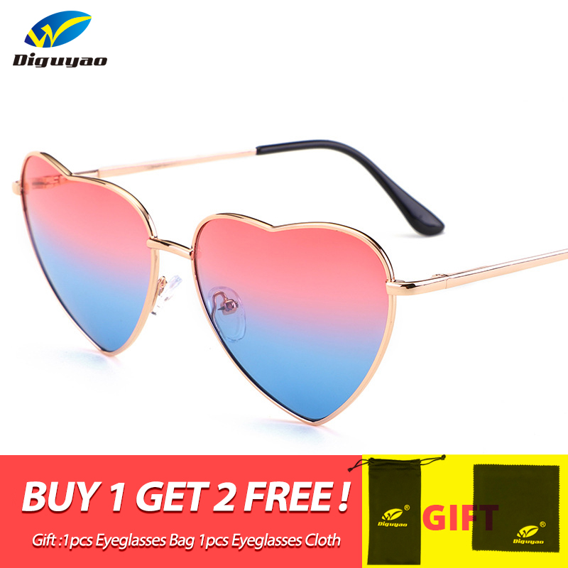 DIGUYAO Boys Girls Metal Frame Multicolour Kids Sunglasses Brand Designer Coating Fashion Girls Children Heart Shaped Glasses(China)