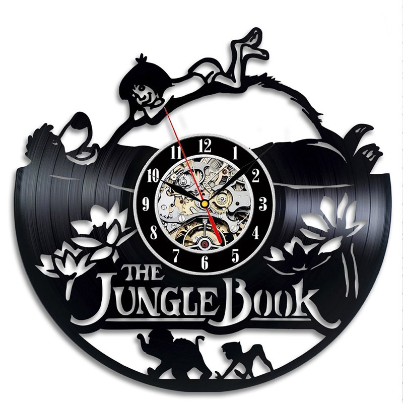 Cartoon The Jungle Book CD Record Clock Creative Vinyl Record Wall Clock Antique Style Handmade Home Decor Classic LED Clock