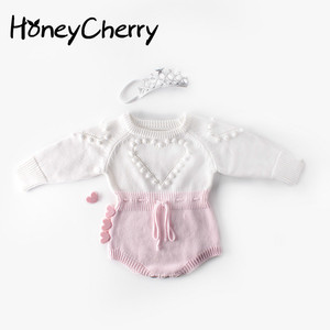 Image 1 - Baby Bodysuits hand knitted wool sweater power of love long sleeved coveralls package fart Bodysuits climbing clothes
