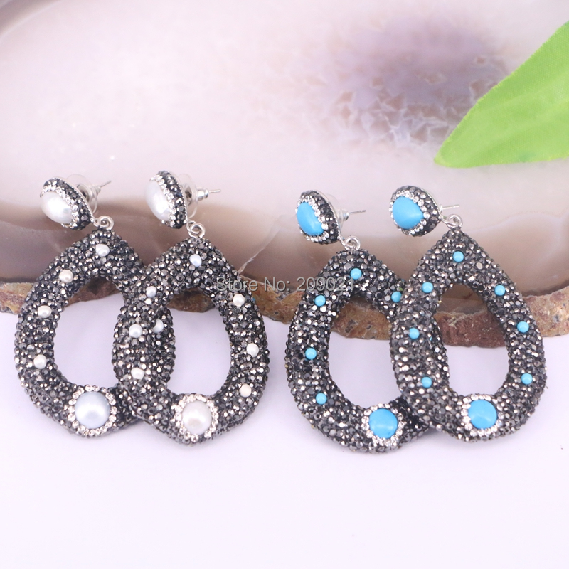 New 5Pair Rhinestone Blue Stone Pearl Drop Earrings Jewelry Finding