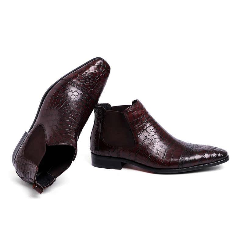 Sipriks Erkek Kovboy Çizmeleri Ithal İtalyan Tan Deri Chelsea Çizmeler Elbise Ayakkabı Timsah Deri Streç bileğe kadar bot Kırmızı Alt