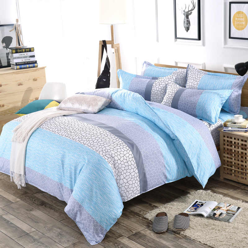 3/4pcs/Set Simple Style Stripe Fashion Comforter Cotton Bedding Set Bed Linen Duvet Cover Set Pillowcase Home Textile