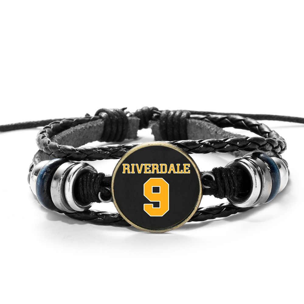 SONGDA Riverdale Bracelet Casual Personality American TV Riverdale Patterns Glass Cabochon Charms Beaded Punk Leather Bracelet