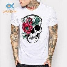 2016 fashion short sleeve punk floral skull t-shirts funny tee shirts cool Summer tops Men's White Mesh Sugar Skulls T Shirt