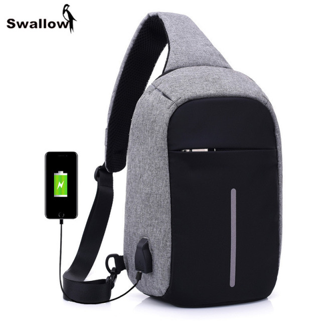 SWALLOW External USB Charging Waist Bag For Men Canvas Anti-Theft Waterproof Business Travel Chest Pack Reflective Belt Bag Male