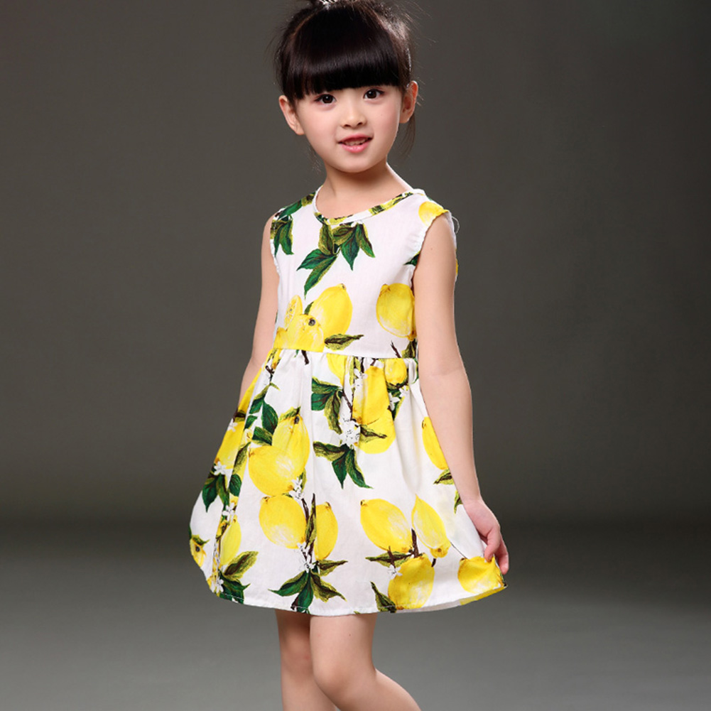 Kinder Kleider für Mädchen Kinder Mädchen Sommerkleid Kinder Kleidung Baumwolle Zitrone Print Mädchen Kleider für 3-11Y Hohe Qualität