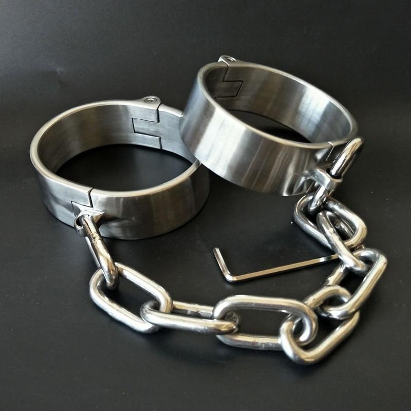 Heavy Stainless Steel Handcuffs Ankle Cuff Lockable Fetish Bondage Bdsm Hand Cuffs Restraints Adult Games Sex Toys For Women Men