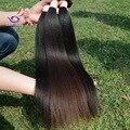 Grado 6A 4 unids humano remy brasileño italiana yaki ligero recto virgin hair weave color natural soft relajado para mujeres