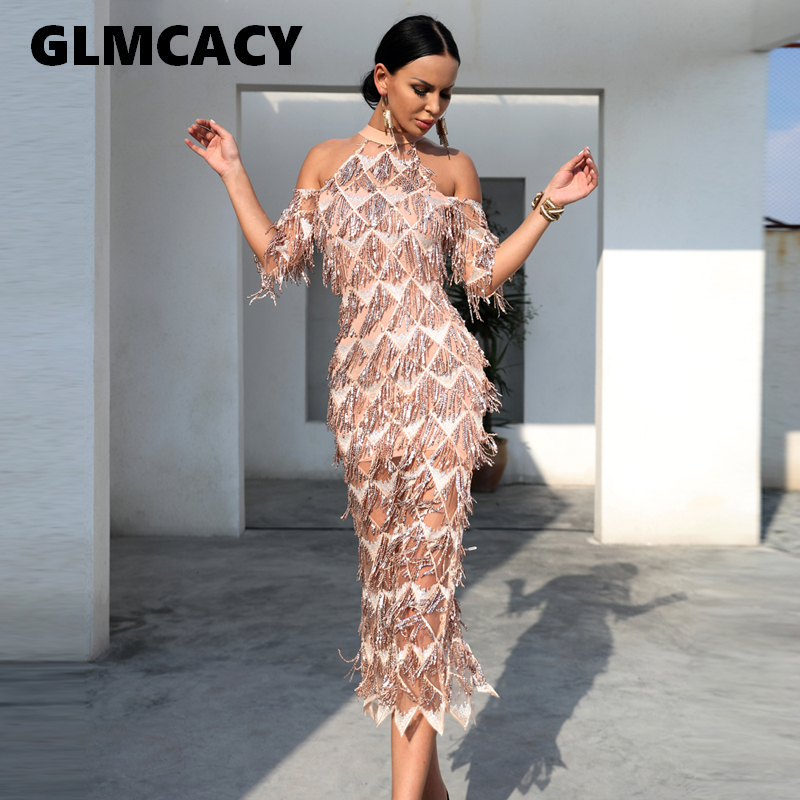 Women Elegant Sequined Evening Party Dress Cold Shoulder Formal Vestidos Mesh Runway Dress Sexy Night Club Tassels Fringe Dress