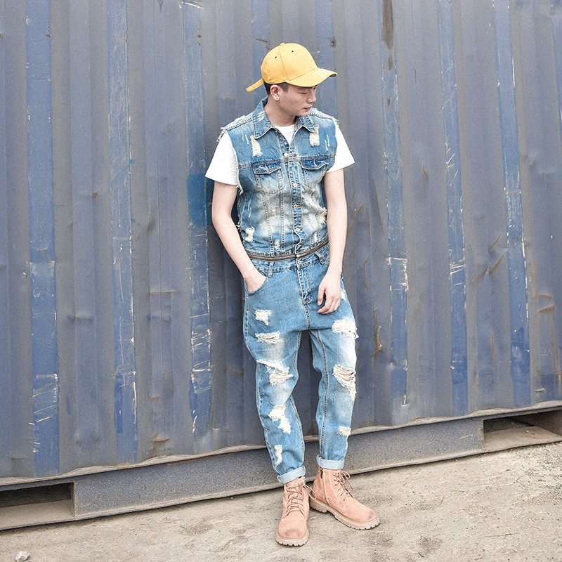 Removable Cowboy Siamese Trousers Summer Tide Men s Bodywork Overalls Work Clothes Holes ...