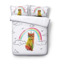Cat Duvet Cover Sets Sketch Cloud Rainbow Colorful Cat Bedding Set with Pillowcases