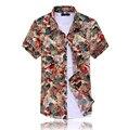 Бесплатная доставка новый 2016 летом британский королевский стиль цветочный печати с коротким рукавом рубашки мужчин мужская одежда плюс размер м-7xl/DCS18