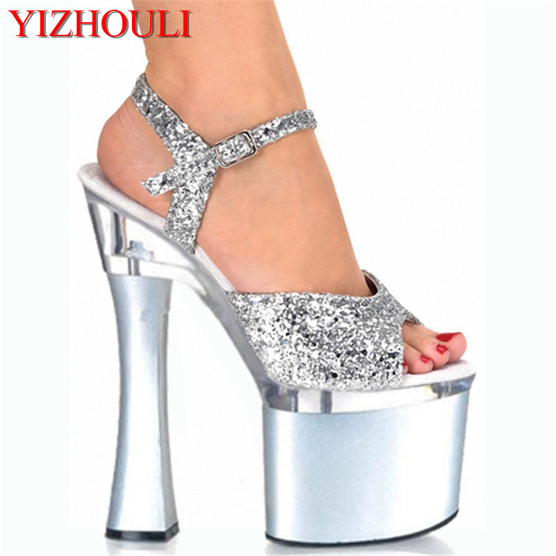 Newest Shining Silver 18CM Sexy Super High Heel Platforms Pole Dance/Performance/Star/Model Shoes, Wedding Shoes 15cm sexy super high heel platforms pole dance performance star model shoes wedding shoes crystal shoes