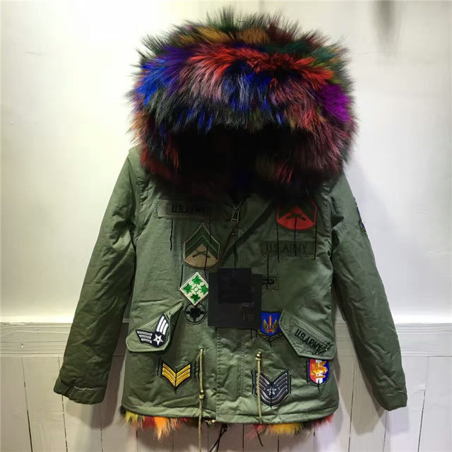 f245105a4aa Beading Patch Design Luxury Genuine Multi Colorful Fox Fur Inside Coat  Jacket Real Raccoon Fur Hooded Outwear Winter Thick Parka