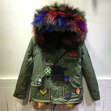 Beading Patch Design Luxury Genuine Multi Colorful Fox Fur Inside Coat Jacket Real Raccoon Fur Hooded Outwear Winter Thick Parka