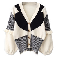 2018 winter new white and black women knitted cardigans lady ruffles elegant sweaters female outwear warm tops
