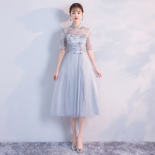 Grey Colour Midi Dress Retro Bridesmaid Dresses for Wedding Party for Woman Floral Embroidery Empire Back of Bandage v neck red bean pink colour above knee mini dress satin dress women wedding party bridesmaid dress back of bandage