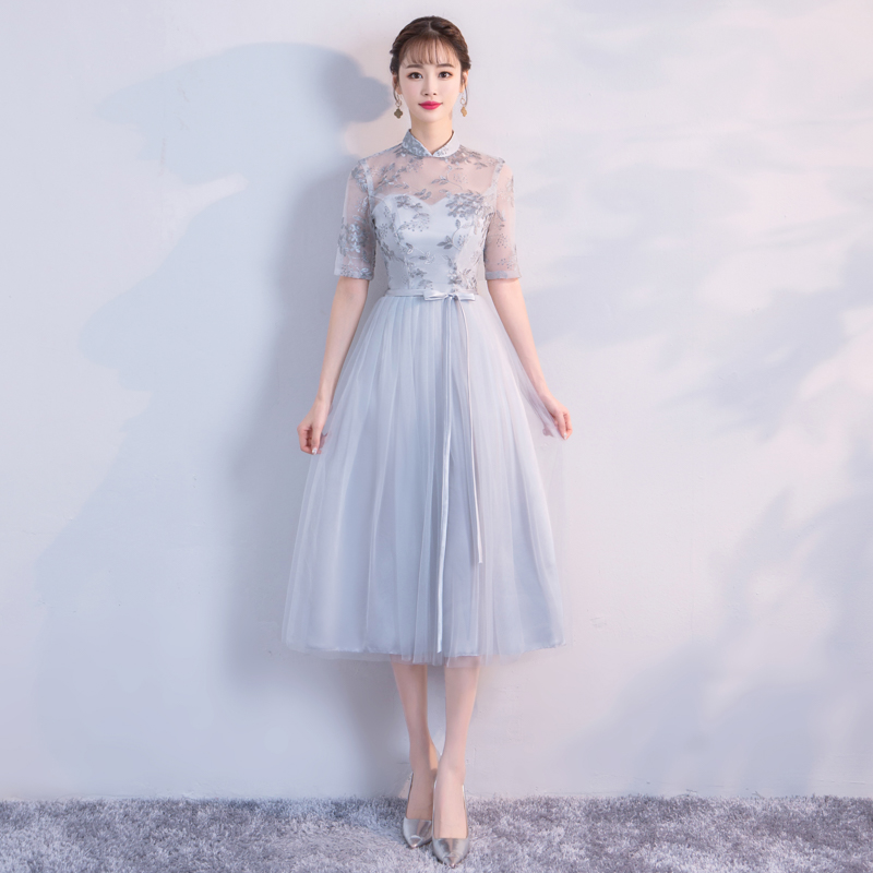 Grey Colour Midi   Dress   Retro   Bridesmaid     Dresses   for Wedding Party for Woman Floral Embroidery Empire Back of Bandage