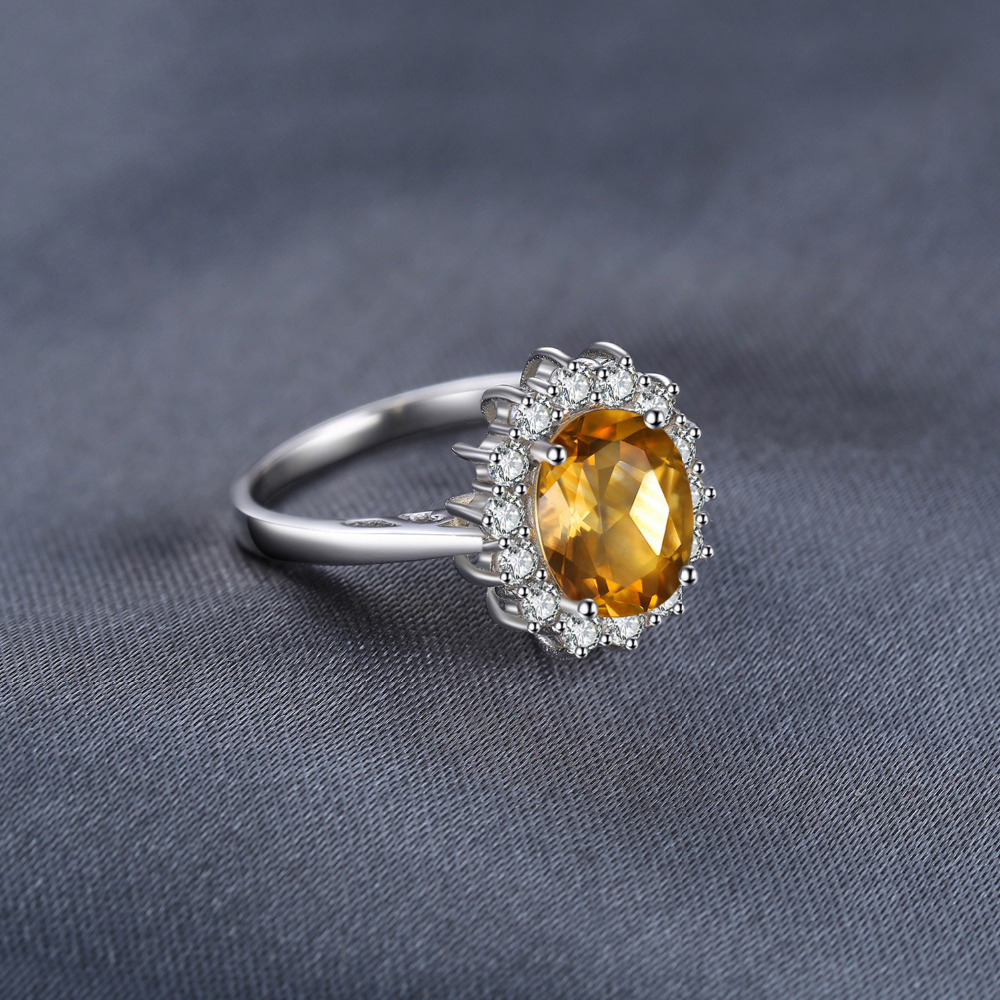 Image 4 - JewPalace Princess Diana Genuine Citrine Ring 925 Sterling Silver Rings for Women Engagement Ring Silver 925 Gemstones Jewelryring 925ring forrings for women -