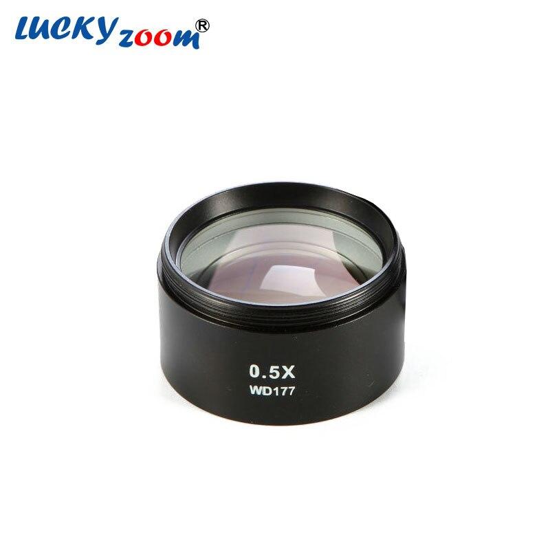 Luckyzoom SZM-0.5X AUSILIARIO Lente Obiettivo Per Trinoculare Zoom Stereo Microscopio WD 177mm Microscopio Accessori Spedizione Gratuita
