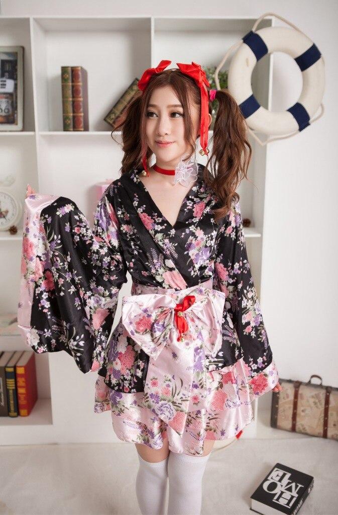 Hot Sale Woman Geisha costume Bow tie Japanese kimono Cherry suits