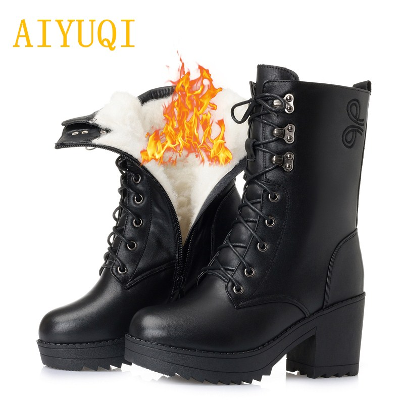 AIYUQI 2019 new winter women boots female waterproof sexy warm wool snow boots women big size