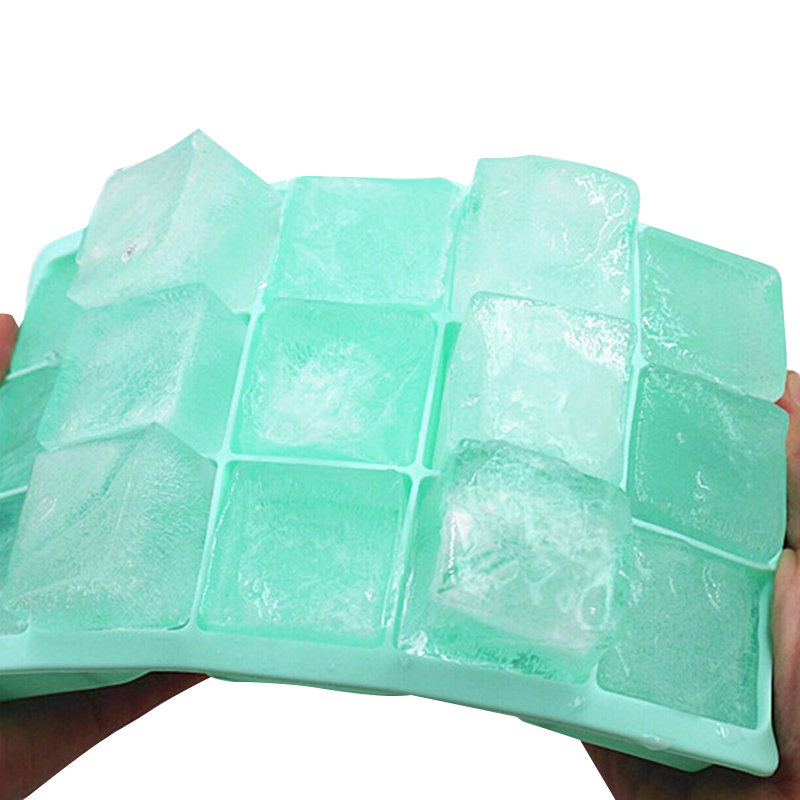 15 Grid Food Grade Silicone <font><b>Ice</b></font> Tray <font><b>Ice</b></font> Mold Home with Lid DIY Homemade <font><b>Ice</b></font> Cube Mold Square <font><b>Ice</b></font> Machine image