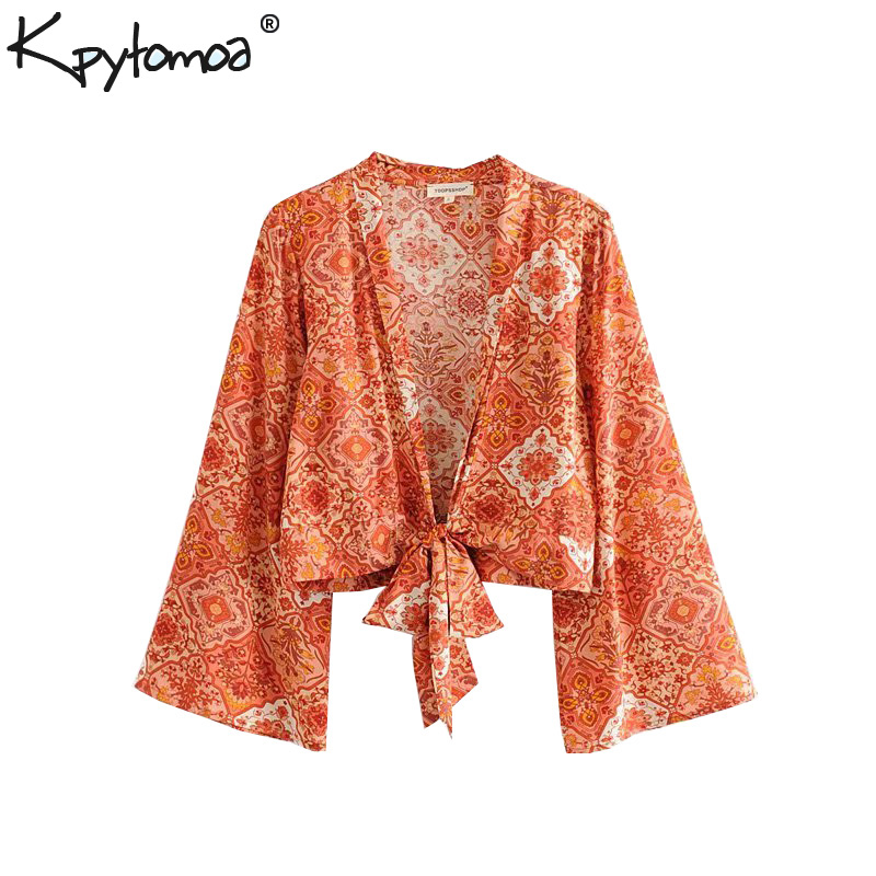 Boho Chic Summer Crop Tops Vintage Floral Print Kimono Women 2019 Fashion Flare Sleeve Bow Tie Beach   Blouses     Shirts   Blusas Mujer