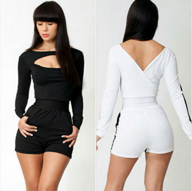 Sexy fashion black white one piece pants front open mini bandage ...