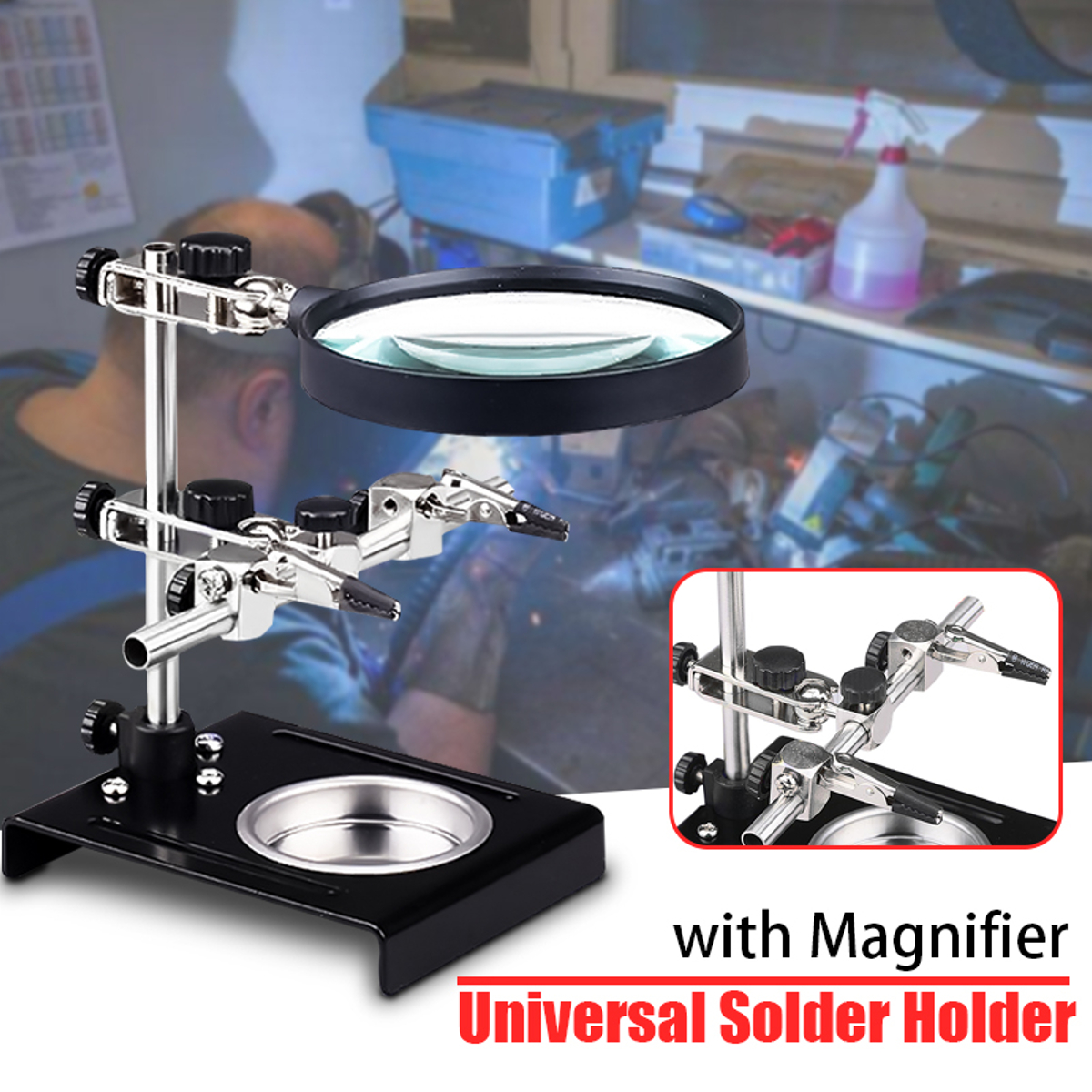 Universal Helping Hand Soldering Auxiliary Clip Magnifier 3X Stand Electronic Welding Clamp Magnifying Station Holder Bracket hand soldering iron stand helping clamp magnifying tool auxiliary clip magnifier station holder