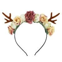 Gril Palchi di Natale Della Fascia Di Compleanno Rosa Hairbands Del Fiore Del Partito Floral Crown Capelli Delle Donne Accessori Puntelli Foto