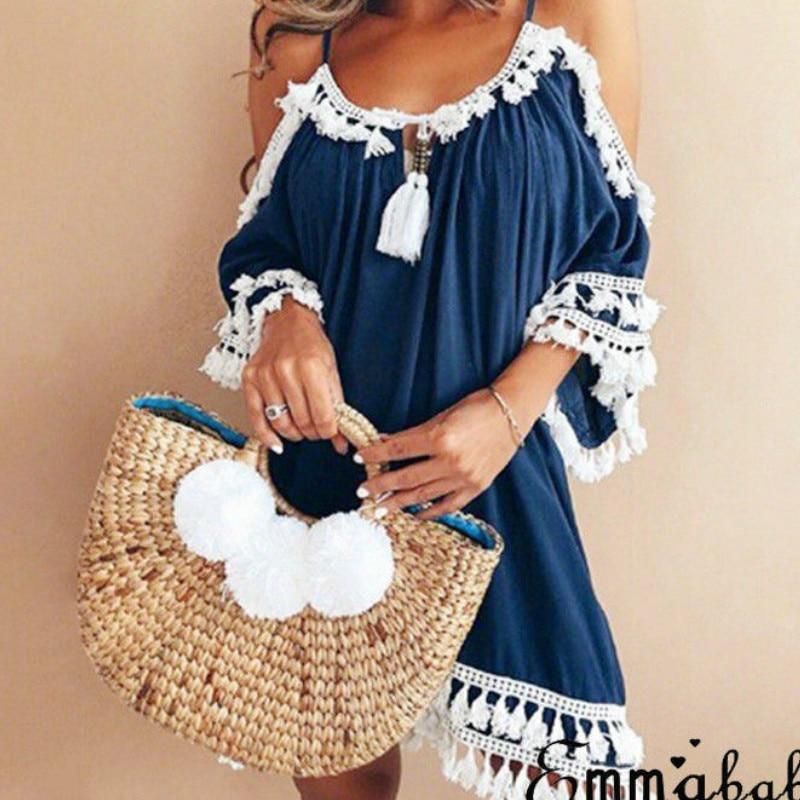 2018 Sexy Tassel dress Fashion women Off shoulder vintage dress half sleeve beach summer dress