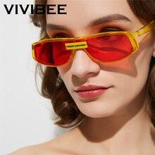 VIVIBEE Trending 2019 Cat Eye Women Fashion Red Yellow Narrow Sunglasses Ladies KEEP LOVING Small Vintage Men Summer Sun Glasses