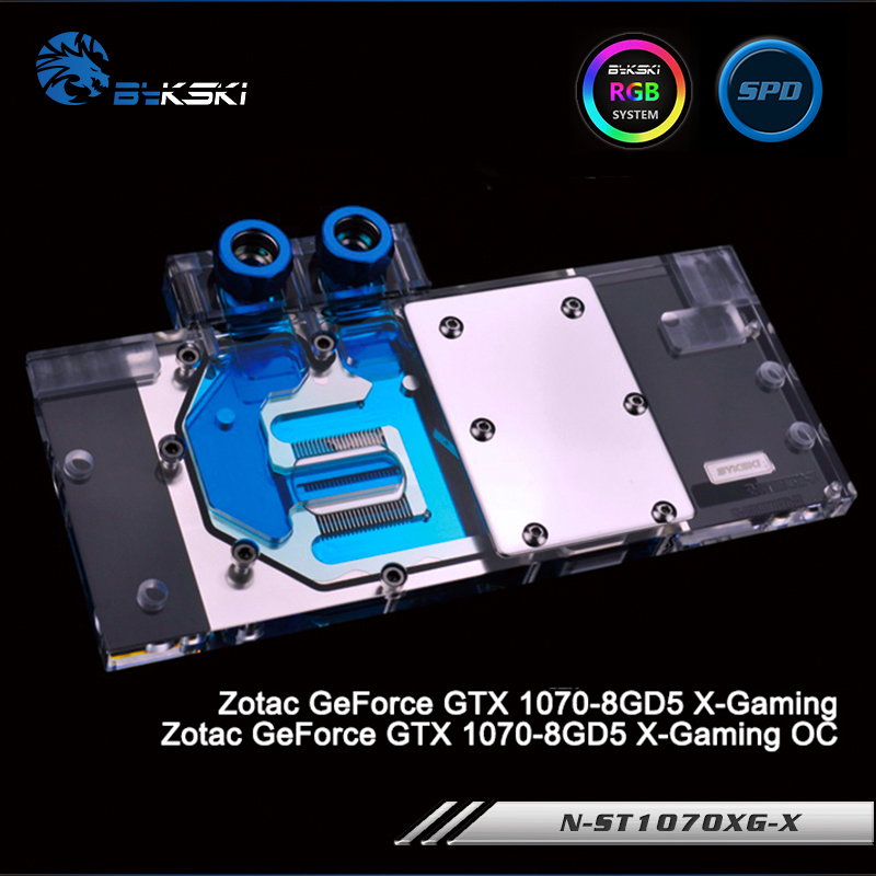 Bykski N-ST1070XG-X Full Cover Graphics Card Water Cooling Block RGB/RBW/ARUA for Zotac GeForce GTX 1070-8GD5 X-Gaming/OC original for zotac mgt8012yb w20 turbo graphics card cooling fan diameter 7 3cm length 7cm 4wire