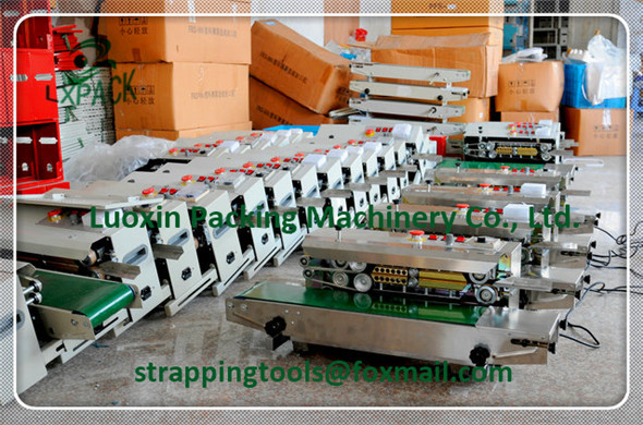LX-PACK Vertical Horizontal Continuous heating plastic/Aluminum foil band bag sealing machine,continuous band sealer coding date