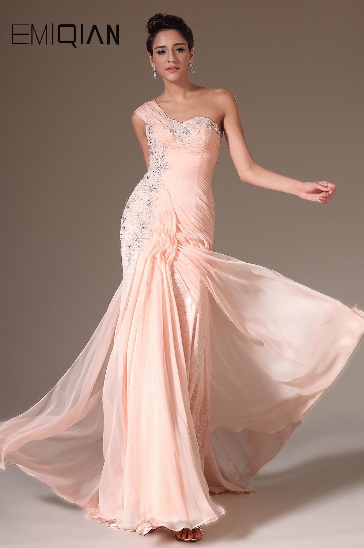 2014 Ny Rosa Charmig En Axel Handgjord Blommor Beading - Särskilda tillfällen klänningar