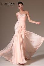 2014 년 새 핑크 챠밍 한 어깨 손으로 꽃 장식 이브닝 드레스 만들기