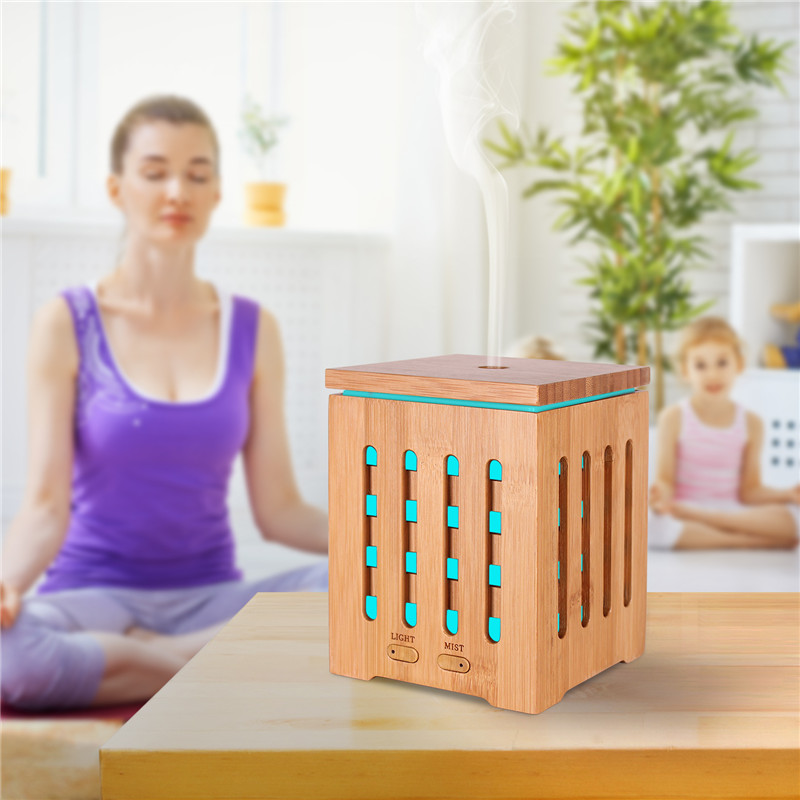 DEVISIB Real Bamboo Essential Oil Diffuser Ultrasonic Aromatherapy Diffusers with 7 LED Colorful Lights and Waterless Auto Shut