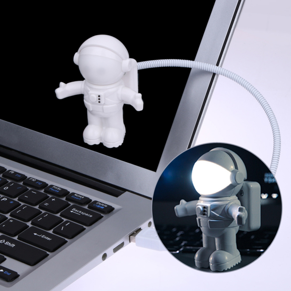 Funny Astronaut USB Gadget Spaceman USB LED Lys Justerbare Night Light Gadgets til Computer PC Lampe