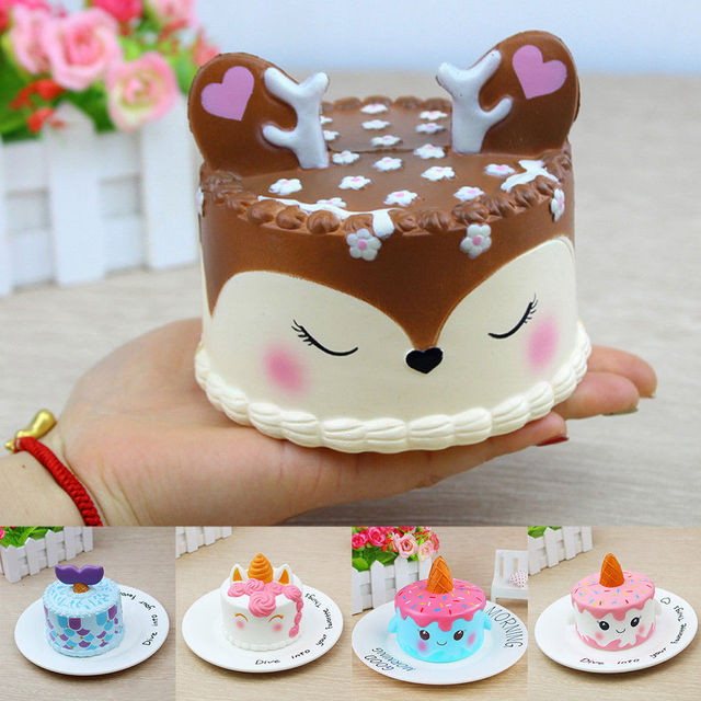 Squishy Slow Rising Squeeze Toy Narwhal Rose Deer Cake Star Deer