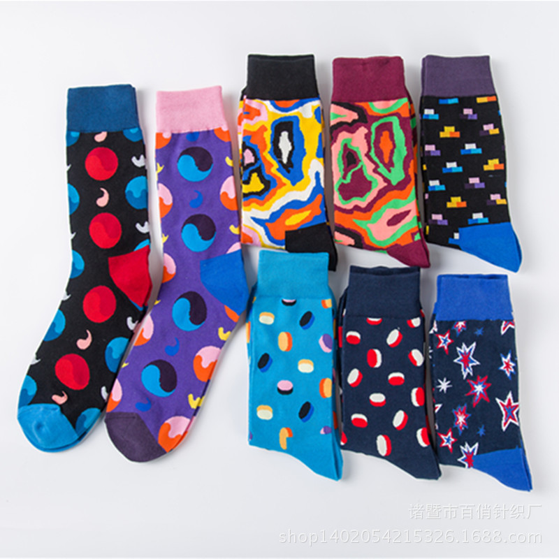 2019 Men's Happy Socks Skateboard 100% Cotton Street Wear Funny Socks Male Hip Pop Colorful Dot Yin Yang Casual Men Socks