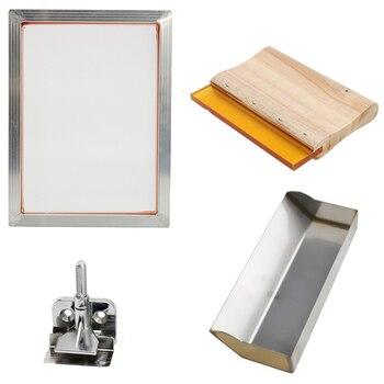 5Pcs/Set Screen Printing Kit Aluminum Frame + Hinge Clamp + Emulsion Scoop Coater + Squeegee Screen Printing Tool Parts