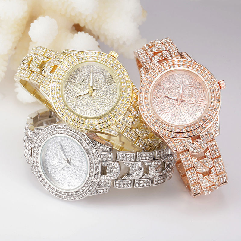 Luxury Women Ladies Quartz Watch Girl Stainless Steel Rhinestone Wristwatch