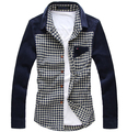 Free shipping Long-sleeve shirt men's clothing plus size shirt patchwork plaid casual 150g fat big Turn-down Collar clothing
