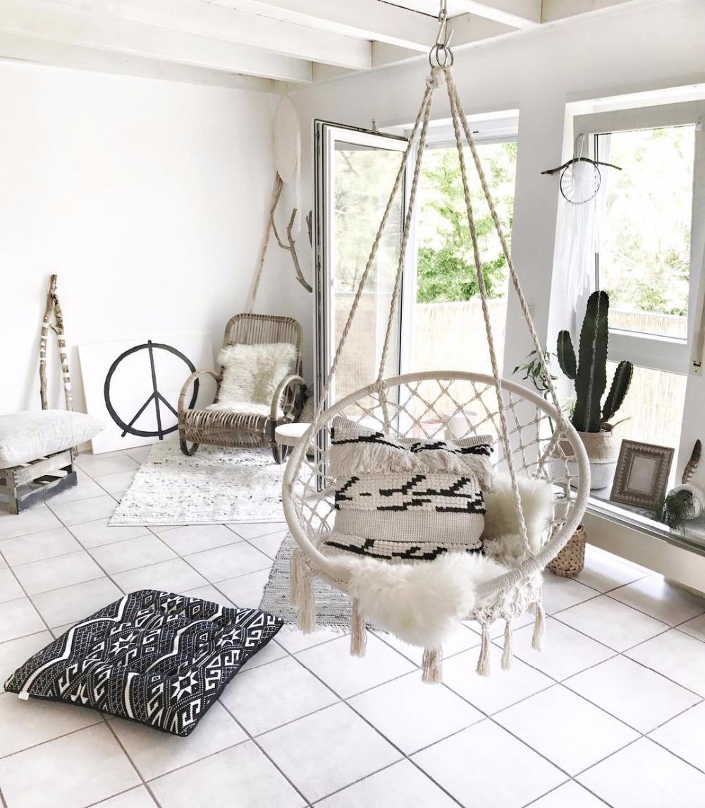 Us 31 49 37 Off Nordic Handmade Knitted Round Hanging Hammock Outdoor Indoor Dormitory Bedroom Baby Kids Hanging Chair Children Swing Home Decor In