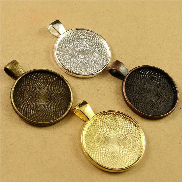 10pcs 20mm Round Pendant Blanks Base Setting Tray Zinc Alloy for Glass Gem Cameo Cabochons Diy Jewelry accessories